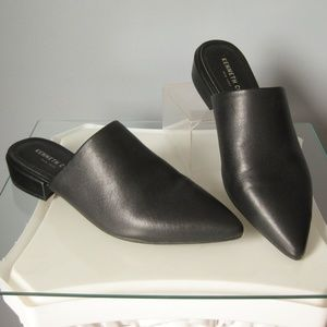 Kenneth Cole Black Leather Mules Closed Toe